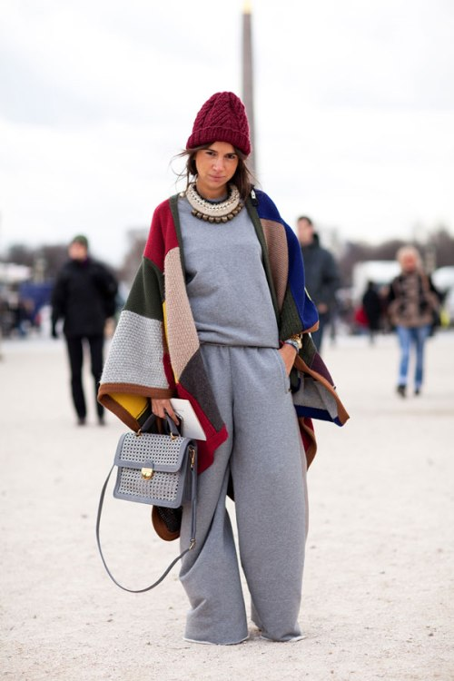 image via: http://www.harpersbazaar.com/fashion/fashion-articles/sweatpants-paris-fashion-week-street-style-fall-2012#slide-24